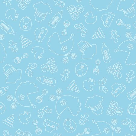 Modello senza cuciture Baby Boy contorno icone blu e bianche Vettoriali