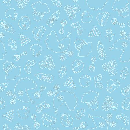 Naadloze patroon Baby Boy overzicht blauwe en witte pictogrammen Vector Illustratie