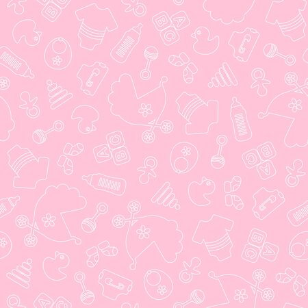 Seamless Pattern Baby Girl Outline Girl Pink And White