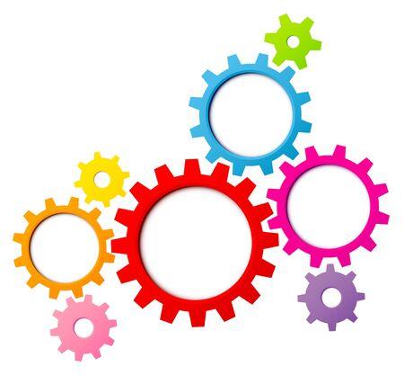 Gruppe von acht grafischen Zahnrädern Grenze Regenbogenfarben