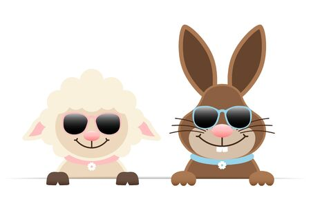 Easter Bunny And Sheep Sunglasses Holding Horizontal Banners
