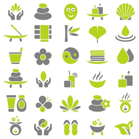 Set Of Thirty Wellness Icons Green And Gray Illustration