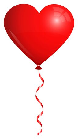 Single Isolated Red Heart Balloon Flying With Matching String