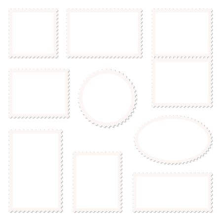 Set Of Nine Blank White Stamps Beige Frame