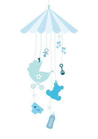 Hängendes Mobile Seven Baby Icons Boy Blau