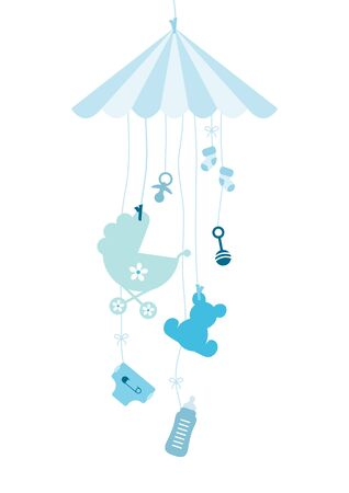Hanging Mobile Seven Baby Icons Boy Blue Illustration