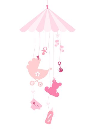 Hanging Mobile Seven Baby Icons Girl Pink