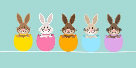 Slim Banner Five Easter Bunny Eggshell Turquoise Vettoriali