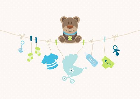 Teddy On Bended String With Baby Boy Icons Dots Background Beige