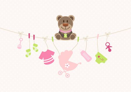 Teddy On Bended String With Baby Girl Icons Dots Background Beige