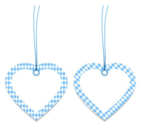 Two Label Hearts Octoberfest Diamond Pattern Blue And White