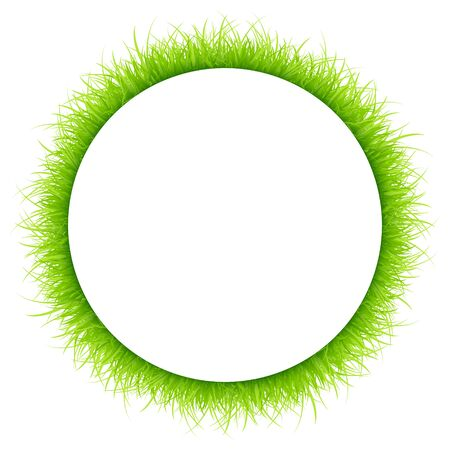 Round Frame Green Meadow Different Heights White Background