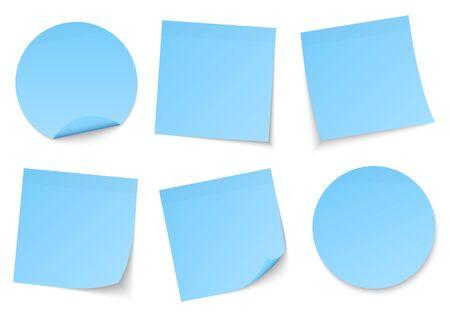 Set Of Six Light Blue Sticky Notes Vecteurs