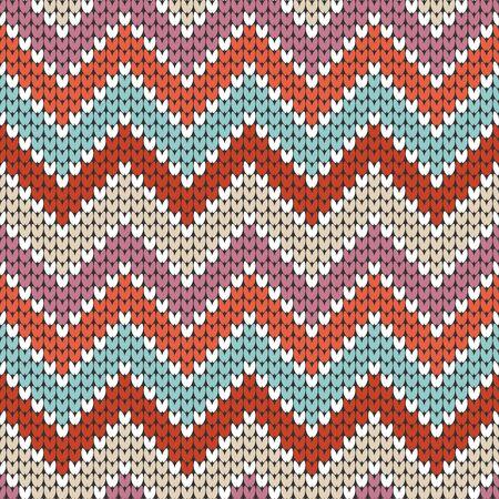 Seamless Pattern Little Knitted Zigzag Pink Orange Purple Beige