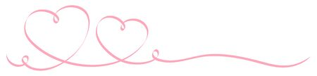 Horizontal Two Pink Calligraphy Hearts Big And Little Ribbon