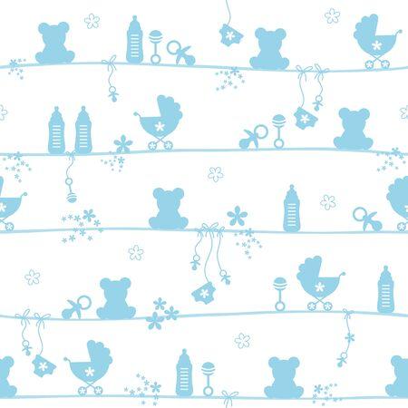 Nahtloses Muster Baby Boy Teddy Icons Silhouette Blau