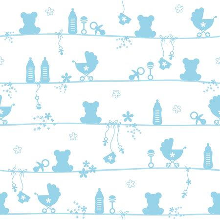 Seamless Pattern Baby Boy Teddy Icons Silhouette Blue