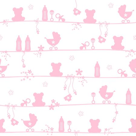 Seamless Pattern Baby Girl Teddy Icons Silhouette Pink