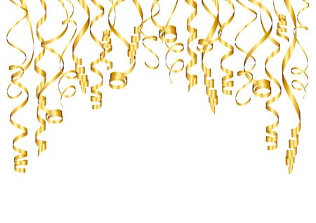 Horizontal Background Golden Streamers Bended Different Lengths