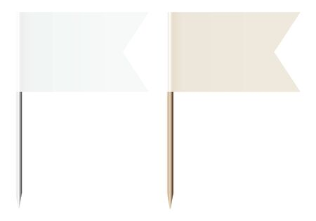 Set Di Due Spille A Bandiera Bianco E Beige Metallo E Legno