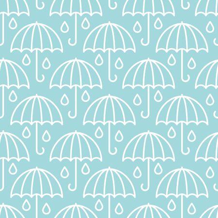 Seamless Pattern Big Graphic Umbrellas Raindrops Blue And White Ilustração