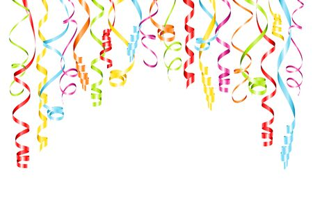 Horizontal Bended Hanging Streamers Background Six Different Colors