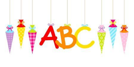 Straight Hanging Colorful School Cornets And ABC Letters