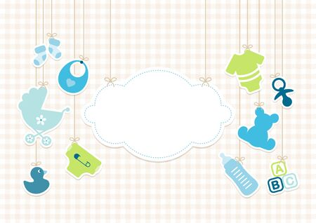 Card Baby Icons Boy And Cloud Background Check Beige