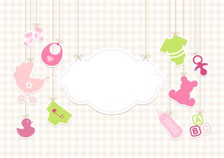 Card Baby Icons Girl And Cloud Background Check Beige
