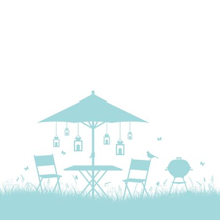 Summer Garden Barbecue Silhouette Horizontal Border Background Turquoise