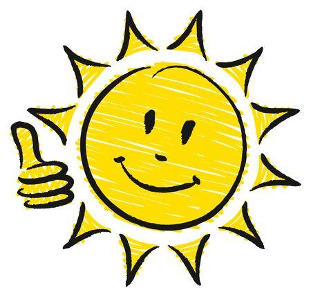 Hand Drawn Sun Right Thumb Up Yellow And Black