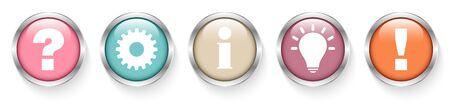 Fünf silberne Knöpfe Frage Arbeit Informationen Idee und Antwort Retro-Farben