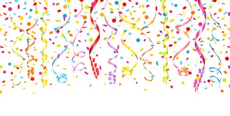 Horizontal Banners Colorful Hanging Streamers And Confetti Ilustração