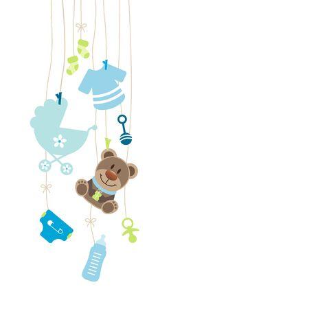 Iconos de bebé colgantes a la izquierda y lazo de niño de peluche azul y verde
