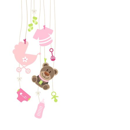 Left Hanging Baby Icons And Teddy Girl Bow Pink And Green