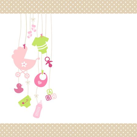 Left Hanging Baby Girl Icons Pink And Green Dot Border Beige Banque d'images - 128239621
