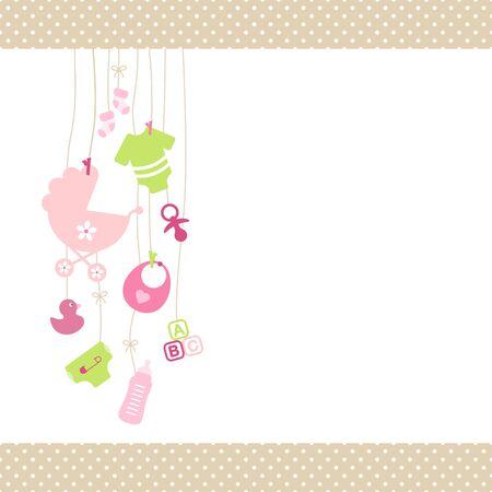 Links hangende babymeisje pictogrammen roze en groene stip grens Beige Be
