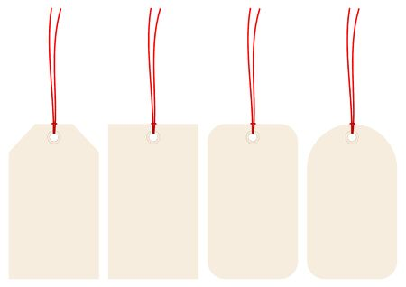 Set Of Four Beige Hangtags With Red Strings