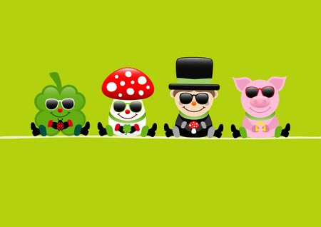 Green Card Cloverleaf Fly Agaric Chimney Sweep and Pig Sunglasses
