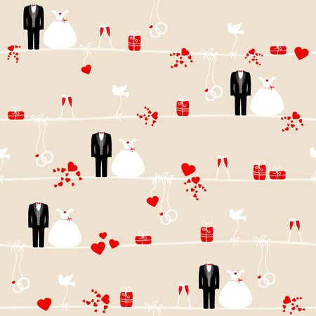 Seamless Pattern Icons Wedding Red And Beige