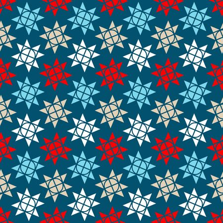 Seamless Pattern Little Graphic Christmas Stars Blue Red White Beige  イラスト・ベクター素材