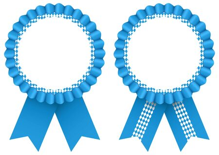 Two Blue Award Badges Oktoberfest Ribbon Pattern