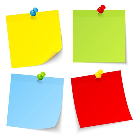 Set Of Four Colorful Sticky Notes With Pins And Shadow 矢量图像