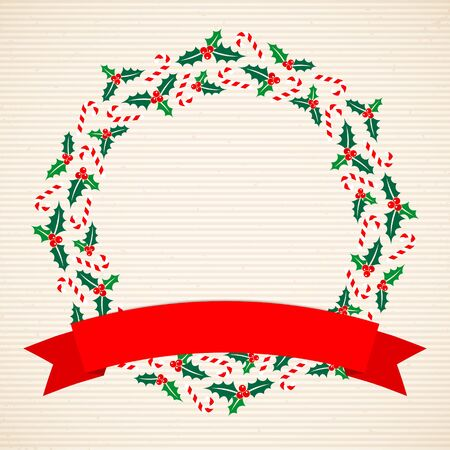 Christmas Wreath Holly And Candy Cane Banner Horizontal Lines Beige