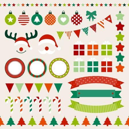Set di icone natalizie rosso verde arancione beige Vettoriali