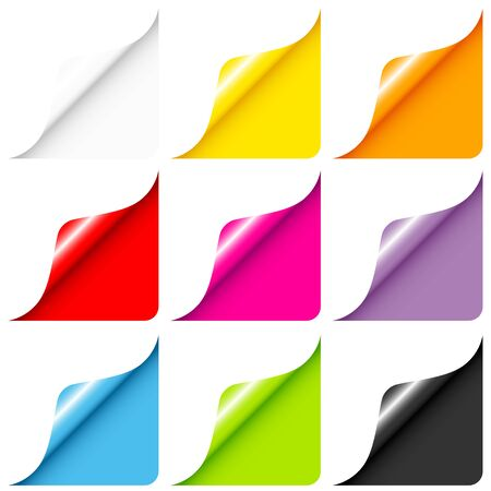 Set Of Nine Web Corners Full Color Rounded Right Below