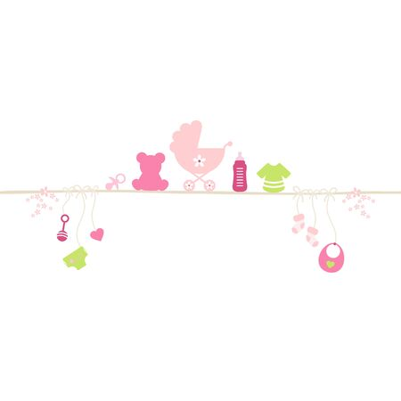 Baby Girl Icons On And Under Straight String Pink And Green 일러스트
