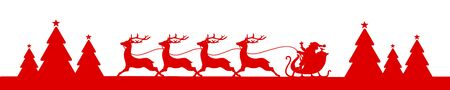 Banner Running Christmas Sleigh With Forest Red