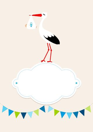 Baby Boy Card Stork On Cloud Pennant Dots Background Beige