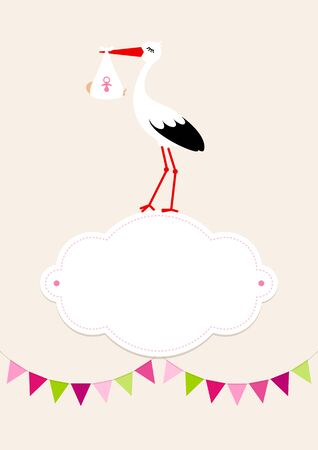 Baby Card Girl Stork On Cloud Pennant Dots Background Beige 일러스트